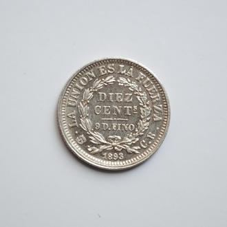 Боливия 10 сентаво 1893 г., UNC