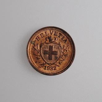 "Швейцария 1 раппен 1931 г., UNC, ""Швейцарская Конфедерация (1917 - 1967)"""