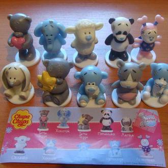 мишка мишки медведи Тедди  серия 10 фигурок вкладыш