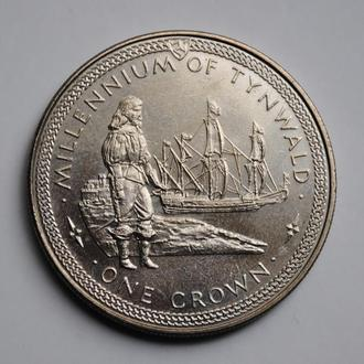 Остров Мэн 1 крона 1979 г., UNC, '1000 лет Тинвальду - Ост-индский корабль'