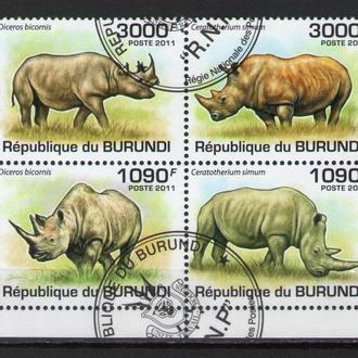 Бурунди 2011 Фауна Млекопитающие Носороги сцепка кварт 9,7евро