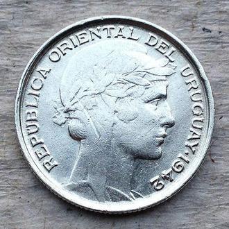 20 сентесимо 1942 г   УРУГВАЙ, серебро