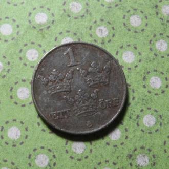 Швеция 1943 год монета 1 эре