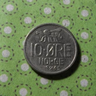Норвегия 1965 год монета 10 эре !