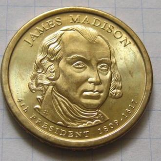 США_ 1 доллар 2007 года D  4-й президент  Джеймс Мэдисон оригинал