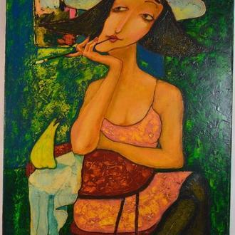 Подпись Вутянов А. ,,Дама с папиросой,, Холст, масло. Размеры 91х60 см.