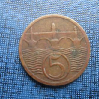 монета 5 геллеров Чехословакия 1929