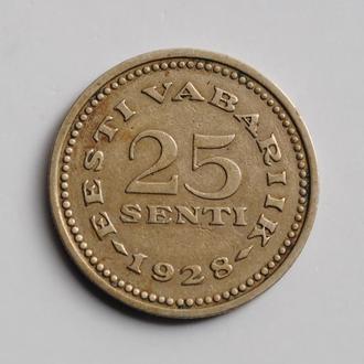 Эстония 25 сентов 1928 г., VF-XF, '1ая Республика (Крона) (1928 - 1940)'