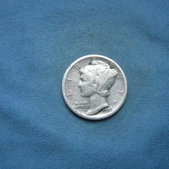 США 1 дайм 1916 год Mercury Dime серебро