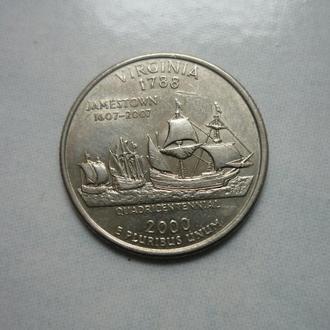 США 25 центов 2000 P Вирджиния