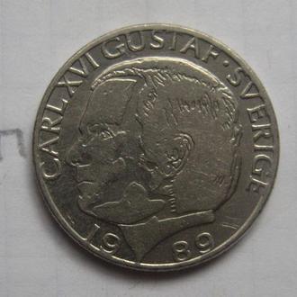 ШВЕЦИЯ 1 крона 1989 г.