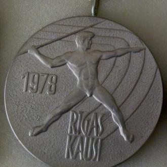 спорт, легкая атлетика, наградная медаль международных соревнований,Рига, 1978г.