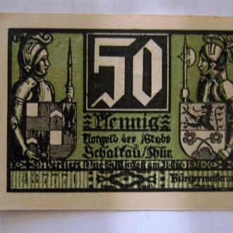 Шалькау, 50 пфеннигов 1921 г., НОТГЕЛЬД.