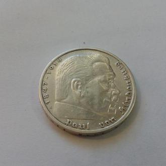 Германия Гинденбург 5 рейхсмарок А 1935 год. Состояние. Серебро. (3-16).  Еще 100 лотов!