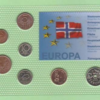 Набор монет НОРВЕГИЯ 1971 - 2003 год а блистер запайка пластик