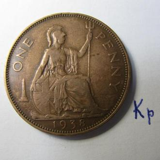 Великобритания один пенни 1 пенні one penny 1938