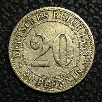 Германия 20 пфеннигов 1888 Е год РЕДКАЯ!!!!!!!!!!!!!