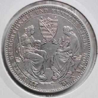 Саксония 1 талер 1854 г., 'Смерть короля Фридриха Августа ІI'