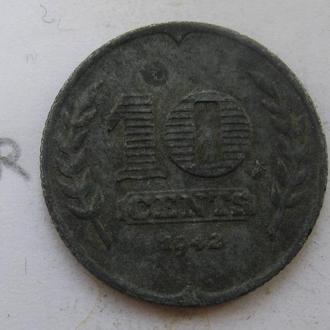 НИДЕРЛАНДЫ, 10 центов 1942 года.