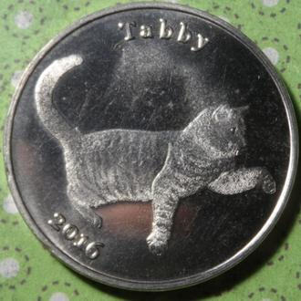 Великобритания остров Строма 2016 год монета 1 фунт герб кошка кот !