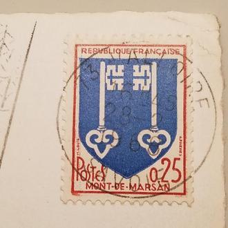 Марка Франция 1966 год + Открытка!