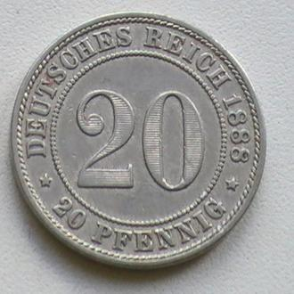 20 Пфенниг 1888 г А Германия 20 Пфеніг 1888 р А Німеччина