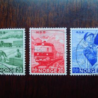 Норвегия.1954г. Ж-д транспорт. Полная серия.