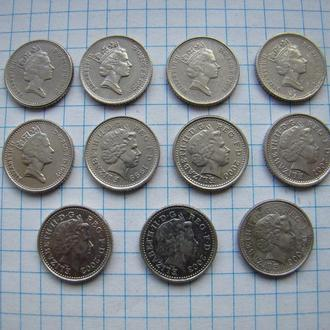 5 пенсов погодовка 1990-2006 гг., Великобритания (см. описание).