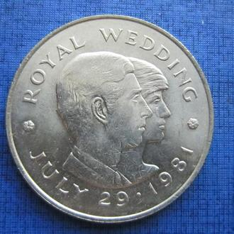 Монета 1 крона (2 фунта) Джерси Великобритания 1981 королевская свадьба Принц Чарльз и Леди Диана