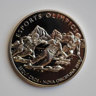Андорра 10 динеров 2008 г., PROOF, 'Лыжная гонка по пересеченной местности'