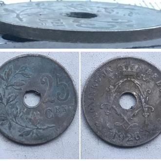 Бельгия 25 сантимов, 1926г.  Надпись на голландском - 'KONINGRIJK BELGIË'