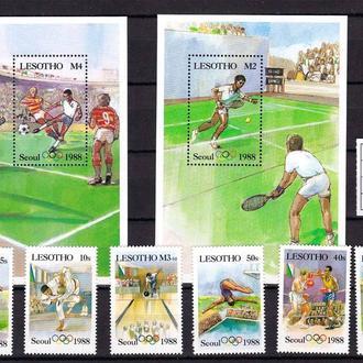 ZM Футбол .  Лесото  1988 г  MNH - 2а блока + марки