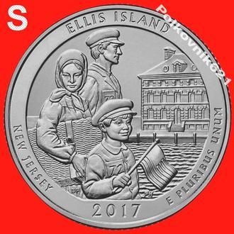 """США, 25 центов, квотер 2017 года, 39 парк, двор """"S"""" (O3451)"""