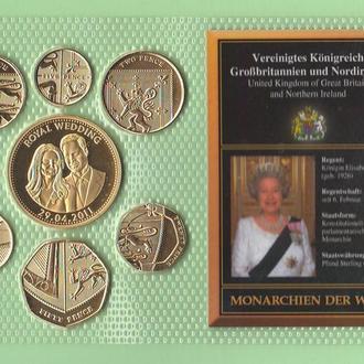 Набор позолоченых монет ВЕЛИКОБРИТАНИЯ - из серии : Монархии мира / Принцеса Диана и принц Чарльз /