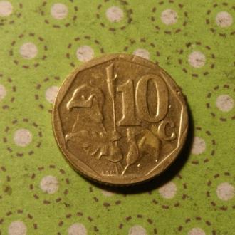 ЮАР 2009 год монета 10 центов Африка ПАР !