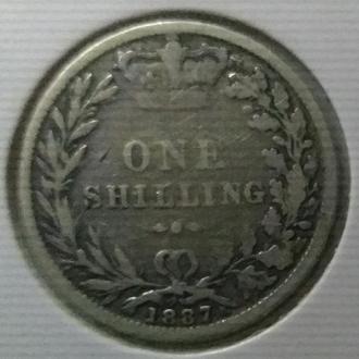 1887 год - 1 шиллинг - Великобритания - молодая Виктория - в холдере