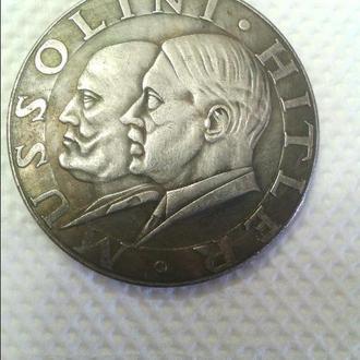 Продам монету 3 Рейха с Гитлером и Муссолини (копия) - 5