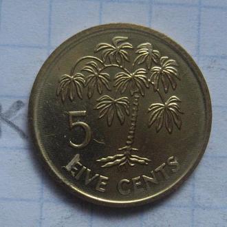 СЕЙШЕЛЬСКИЕ ОСТРОВА 5 центов 2007 года (ПАЛЬМА; состояние).