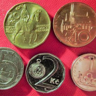 Колекція 5 чеських монет, 2017 рік; нові