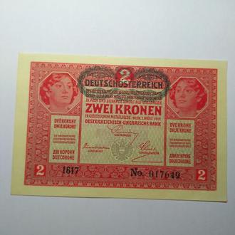 2 короны 1917 Австро-Венгрия, бездоганний прес, UNC, оригинал