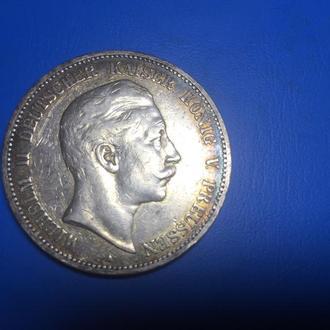 5 марок 1902 год.Пруссия.Вильгельм.Серебро.Состояние!!!