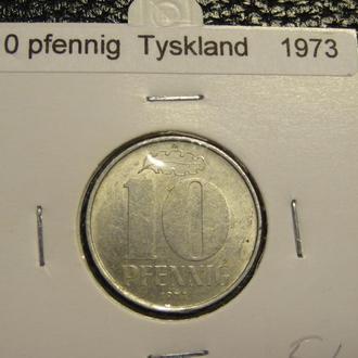 10 пфенігів 1973 A НДР