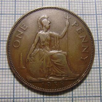 Великобритания, 1 пенни 1938 г. Георг VI.