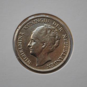 Нидерланды 1 гульден 1929 г., XF-, 'Королева Вильгельмина (1890-1948)'