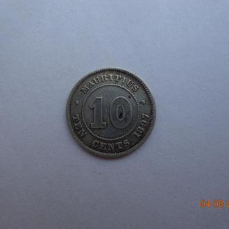 Британский Маврикий 10 центов 1897 Victoria серебро состояние очень редкая