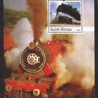 Гвинея-Бисау 2003 ** Транспорт жд локомотивы поезда БЛ MNH