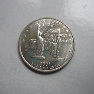 США 25 центов 2001 Д Нью Йорк