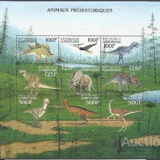 Габон 2000 фауна доисторическая динозавры 2Клб+бл.**