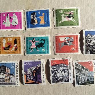 марки- с 1 гр Болгария--(А3) - гашеные--11марок-Сборная