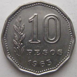 Аргентина 10 песо 1963 год